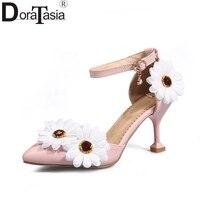 DoraTasia 2018 Best Quality Big Size 32 46 Sun Flowers Princess Summer Sandals High Heels Party Prom Wedding Shoes Woman