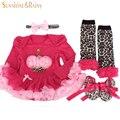 Новорожденный комплектов одежды девочка одежды roupas meninos подарки на день рождения повязка на голову с длинными рукавами пачка платье комбинезон обувь 4 шт.