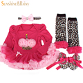 Newborn Baby Clothing Sets Baby Girl Clothes roupas meninos Birthday Gifts Headband Long-sleeve tutu Dress Rompers Shoes 4Pcs