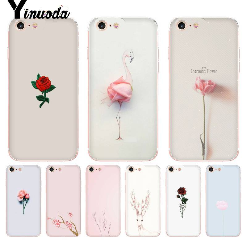 official photos 1b14b 13df9 US $0.82 36% OFF|Yinuoda For iphone 7 6 X Case Cute and Trendy Plant  Flowers Transparent Cover Case for iPhone 8 7 6 6S Plus X 10 5 5S SE 5C 4  4S-in ...