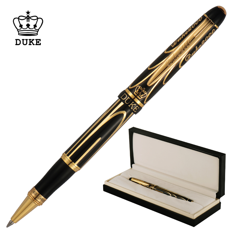 Duc Pionnier Avancée Métal stylo à bille Chromé Belle Or-Noir Lignes Fine Point 0.5mm avec cadeau Boîte pour Collection
