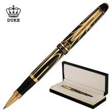 Duke Pioneer Erweiterte Metall Rollerball Stift Verchromte Schöne Goldene Schwarz Linien Fine Point 0,5mm mit Geschenk Box für sammlung