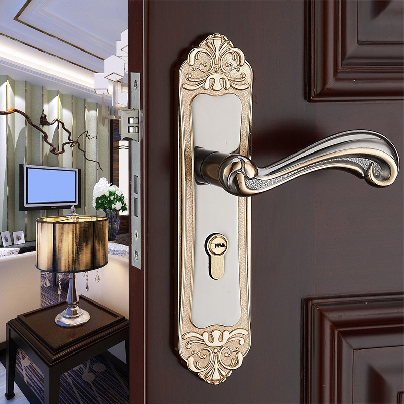 New European style interior door lock modern minimalist bedroom solid wood door lock bearing mute room door handle lock modern simple fashion interior room door lock black split mechanical mute solid wood bedroom door lock creative bird handle lock