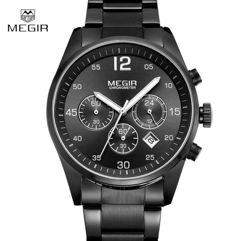 Prix pour 2017 MEGIR Hommes Montre En Acier Plein Sport Montres Hommes Marque De Luxe Chronographe Lumineux Quartz Montre-Bracelet Relogio Feminino