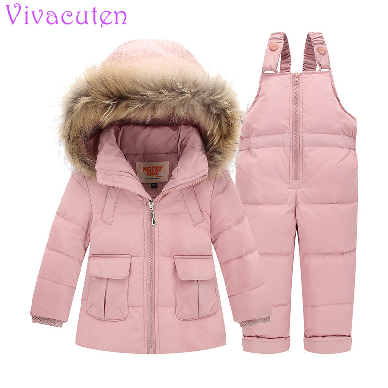 Kids Snowsuits Winter Autumn Hooded Fur Down Jackets For Girls Children Clothes Toddler Girl Outerwear Clothing