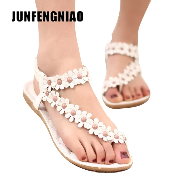 New Fashion Women Shoes Flats Sandals Female Girl Casual PU Leather Flower Floral Beach Superstar Slip On Flip Flops SC-01F669 2016 new arrival women fashion solid flower decoration summer female pu style casual shoes ld536169