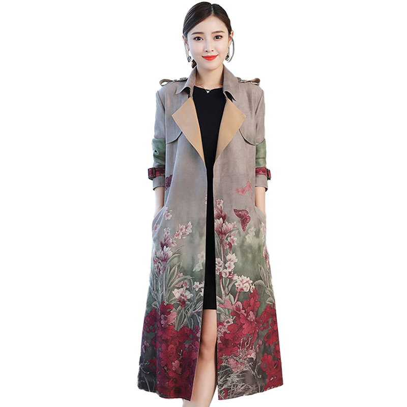 NEW Trench coat women 2019 Spring autumn printing long Chamois Suede Windbreaker fashion female Slim coats Plus size Trench H599