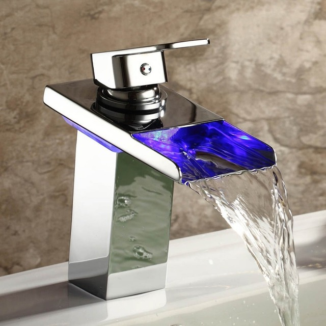 Brand Grifo Robinet Krano Contemporary Solid Br Single Handle Widespread Waterfall Bathroom Sink Led Faucets