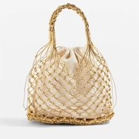 Women Handbag Totes Bucket Paper Straw Plain Woven Bag Hollow Reticulate Korean Pop National Knitting Gold silver hollow out