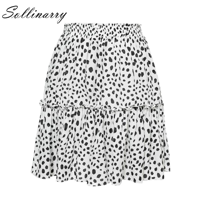 Sollinarry Red Ruffles Leopard Autumn Winter Skirts Women Sexy Boho Mini Skirt Retro Casual A Line High Waist Girls Short Skirts in Skirts from Women 39 s Clothing