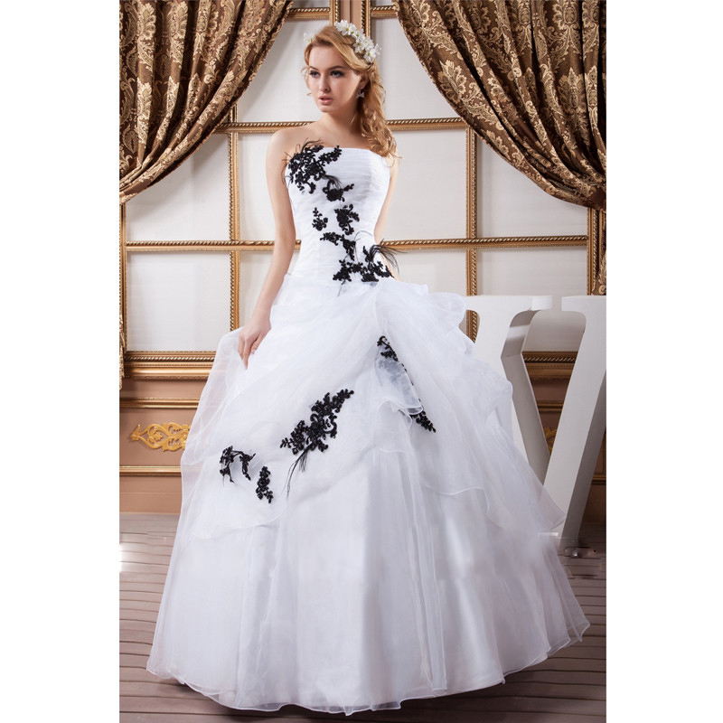 Plus Size Black and White Wedding Dresses Promotion-Shop for ...