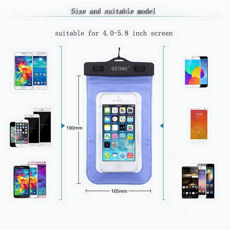 Waterproof Bag Pouch Phone Case For iPhone X 8 7 6 5 Samsung S8 Note 8 Huawei P10 Xiaomi Redmi 1