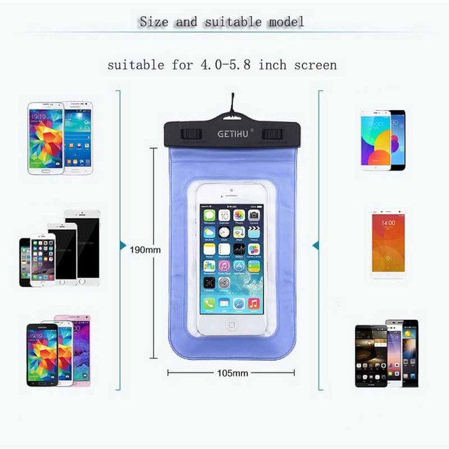 GETIHU Universal Waterproof Bag Pouch Phone Case For iPhone X 8 7 6 5 Samsung S8 Note 8 Huawei P10 Xiaomi Redmi Water Proof Case 2