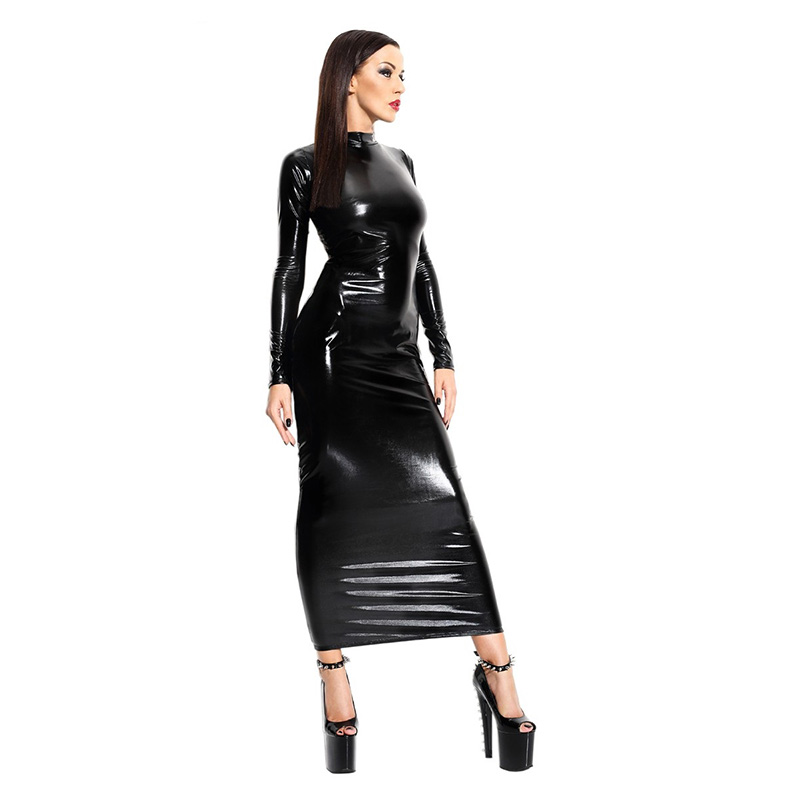 New Sexy Black Maxi Dresses For Women PVC Hollow Out Back Wet Look Long Sleeve Bodycon Women Vinyl Dress Long Sexy Club Robe image