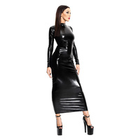 New Sexy Black Maxi Dresses For Women PVC Hollow Out Back Wet Look Long Sleeve Bodycon Women Vinyl Dress Long Sexy Club Robe