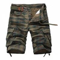 Nueva Llegada 2017 de La Tela Escocesa Beach Shorts Mens Casual Camo Pantalones Cortos de Camuflaje Militar Pantalones Cortos Masculinos Trajes de Carga 13M0575