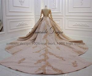 Image 5 - Amanda Design robe de mariee courte Luxury Long Sleeve Puffy Ball Gown Crystal Shiny Wedding Dress 2019