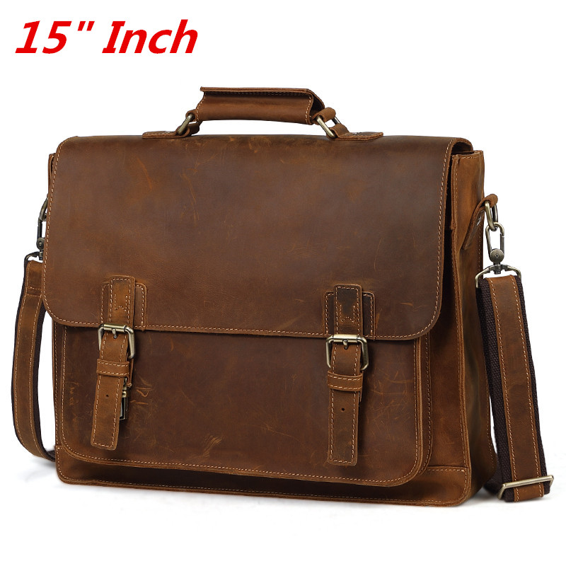 Luxury Pure Handmade Crazy Horse Leather Business Briefcase Casual 15