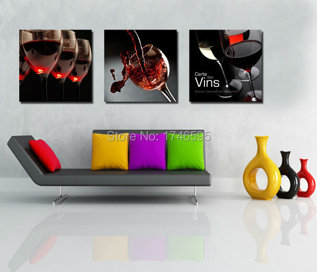 Big 3pcs Modern Home Decor Dining Room Bar Coffee House Wall Art RED WINE GLASS
