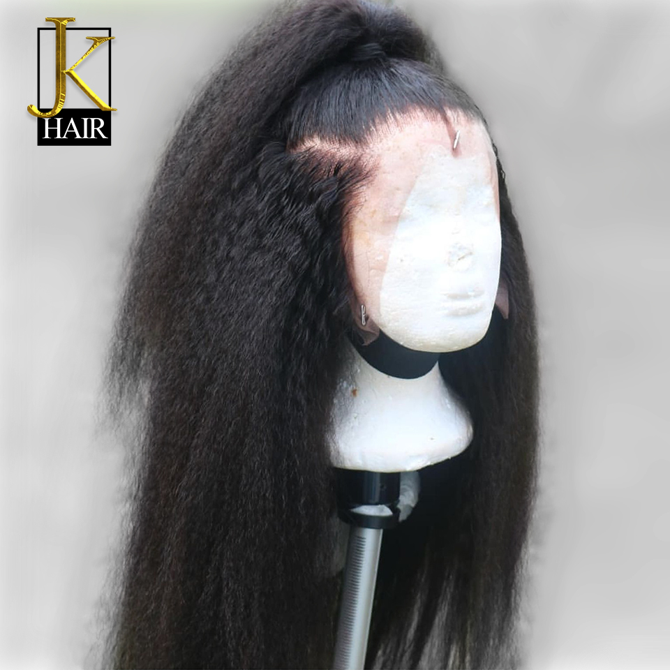 JK Kinky Straight Wig 13x4 Remy Brazilian Lace Front Human Hair Wigs For Women Natural Black Color Lace Front Wig With Baby Hair