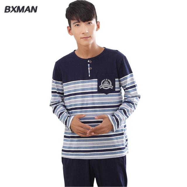 BXMAN Marca dos homens Novos Pijamas Hombre Casuais Pijama de Algodão Listrado O Pescoço Completo Manga Pijamas Para Casa Masculinos Terno Modal 27
