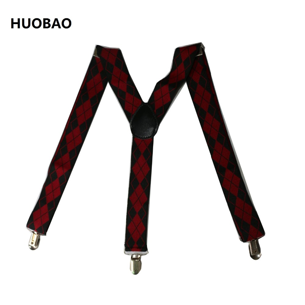 2019 New Men Adjustable 3.5cm Wide Heavy Duty Y-Back Red And Black Geometric Printing  Suspenders For Mens
