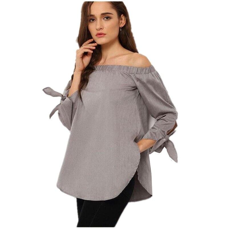 e7450a2ba1dc Ropa elegante arco azul hombro blusa tops ropa femenina camiseta para las mujeres  embarazadas de maternidad embarazo clothing b0194 en Blusas y camisas de ...