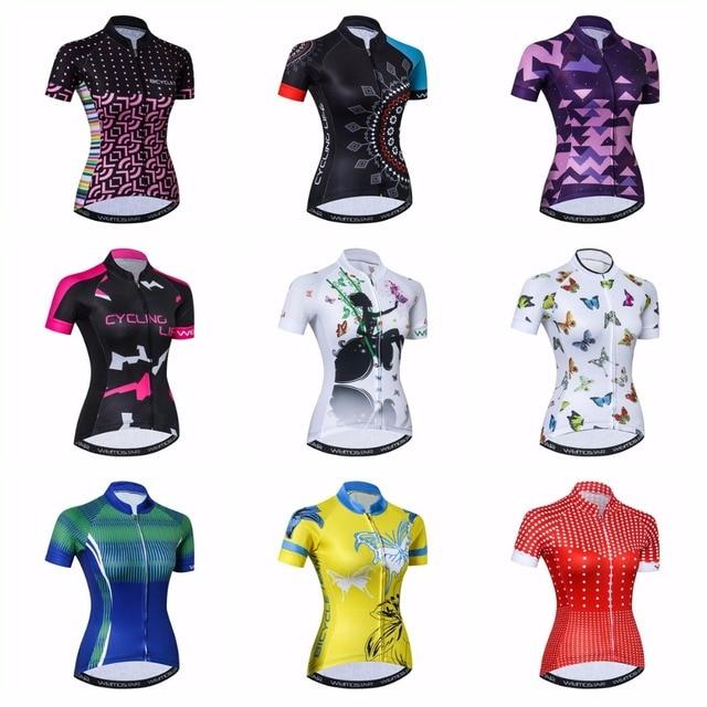 Weimostar mulheres Camisa de Ciclismo Jerseys Bicicleta 2019 estrada MTB bicicleta Vestuário Manga Curta Ropa ciclismo maillot Corrida branco top