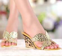 Rhinestone Crystal Slippers 2015 High Quality Genuine Leather Women Wedge Sandals Cout-out Platform Summer Shoes Party Dress
