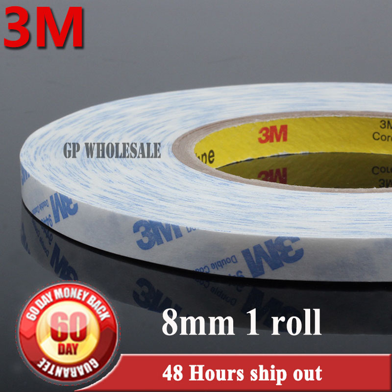 1x 8mm*50M 3M 9448 9448A White double Sided Stircky Tape for Touch Panel /Dispaly /Screen /Case /LCD /LED Repair #FC07 1x 76mm 50m 3m 9448 black two sided tape for cellphone phone lcd touch panel dispaly screen housing repair