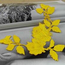 Alta calidad yellow rose 16 * 18.5 cm bordado parches para la ropa, parches bordados coser en remiendos del bordado para ropa