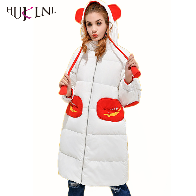 HIJKLNL Winter Bread Clothes   Down   Jackets For Women's Long   Down     Coats   With Hooded Warm   Down   Parkas Pocket White Duck   Coats   PL102
