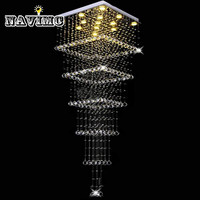 Современные 80 см Большой k9 кристалл Люстры Освещение дуплексного режима лестницы Room Hotel зал подвесной светильник подвесной 6 квадратные сло