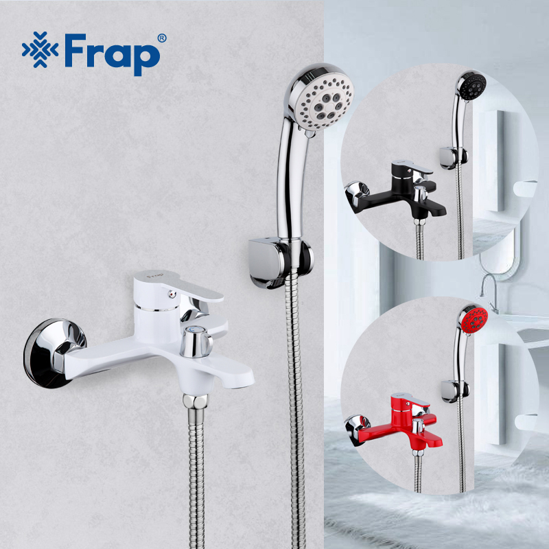 Frap Bathroom Faucet Brass shower Bathtub Faucets cold hot water Mixer tap torneira Polished wall Mounted black waterfall faucet polished chrome double cross handles wall mounted bathroom clawfoot bathtub tub faucet mixer tap w hand shower atf902