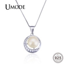 UMODE 925 Sterling Silver Crescent Moon Zircon Diamond Pendant Necklace for Women Freshwater Pearl Silver 925 Jewelry ALN0420 цена