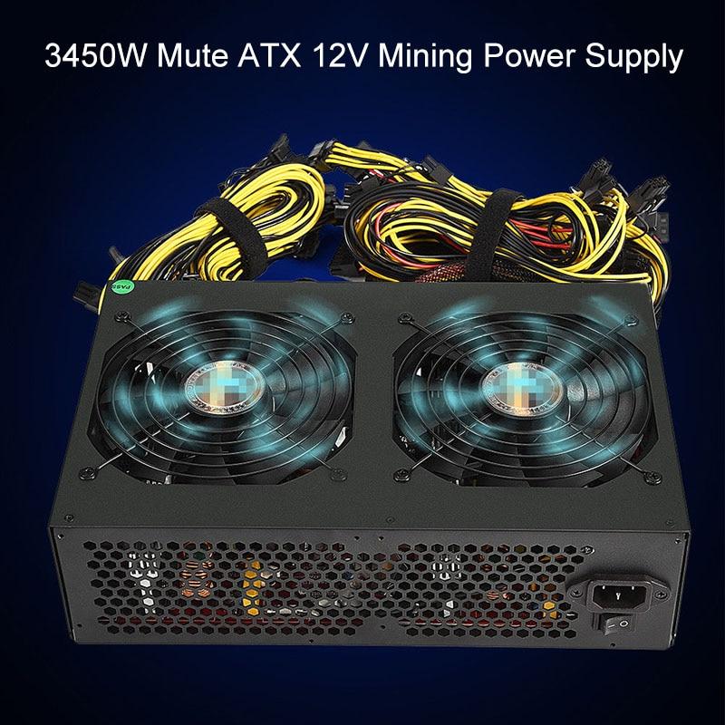 3450W Mute ATX 12V Mining Power Supply For 12 GPU Rig Ethereum Coin Miner XXM8