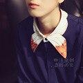 LYNETTE'S CHINOISERIE Primavera Outono Azul Escuro Cor Do Bloco Das Mulheres do Projeto Original Estética Elegante Do Vintage Camisa Impressão Borboleta