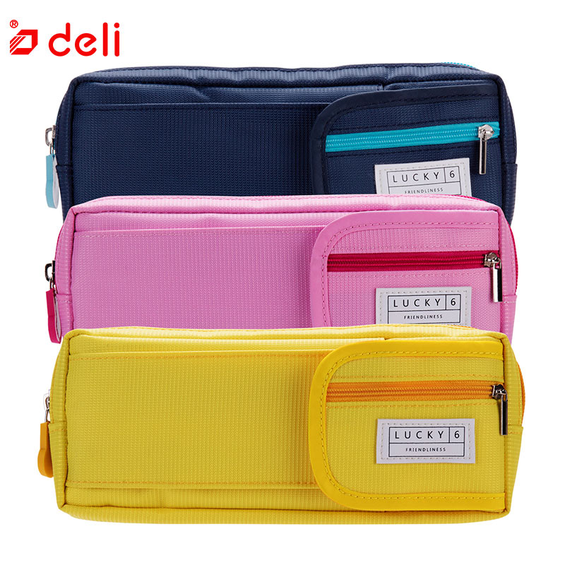 Deli Pencil Cases Gift For Boys Girls Big Pencil Bags Pen Holders School Supplies Stationery Large Capacity Pencil Box 3 Color 2 layers 32 holders animal owl school pencil case big capacity colored marker pencil pen bag box for girls boys art supplie