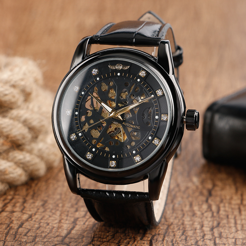 WINNER Blink Crystal Black Stainless Steel Round Dial Wristwatch Genuine Leather Band Strap Fashion Mechanical Watches часы umbra blink black 1005400 040