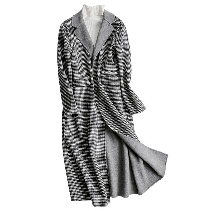 Long Manteaux Femmes Manteau Casacos Gris De Style Laine Mode D'hiver Femelle Z366 Nouveau Col dwon Plaid Turn Angleterre Veste qxYw8tcS