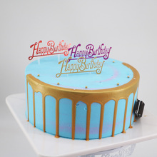 Creative plastic cake decorating English Happy Birthday plugin childrens dessert stage happy.100pc