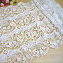 5 Yards 34cm width White Water Soluble DIY Lace Trim Embroidery Ribbon for Sewing  Dress Garment Decoration