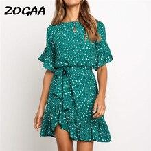 ZOGAA Summer Chiffon Dress Women 2019 Print Butterfly Short Sleeve Beach Dress O Neck Sashes Party Dresses For Girls Robe Femme цена
