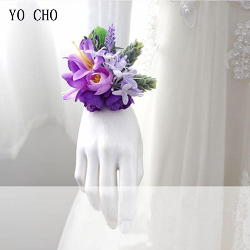 YO CHO Wrist Corsage Purple Wedding Wrist Corsage Bracelet Bridesmaid Silk Flowers Boutonniere Men Marriage Wedding Accessories