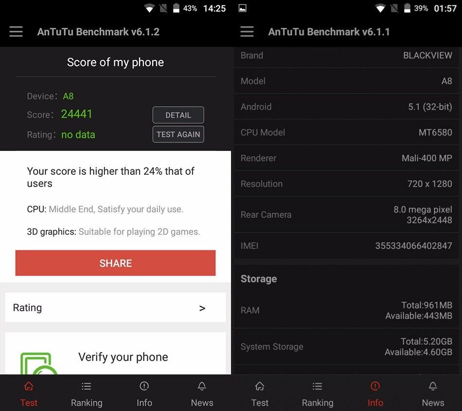 מתנה חינם Blackview A8 טלפון נייד MTK6580 5.0