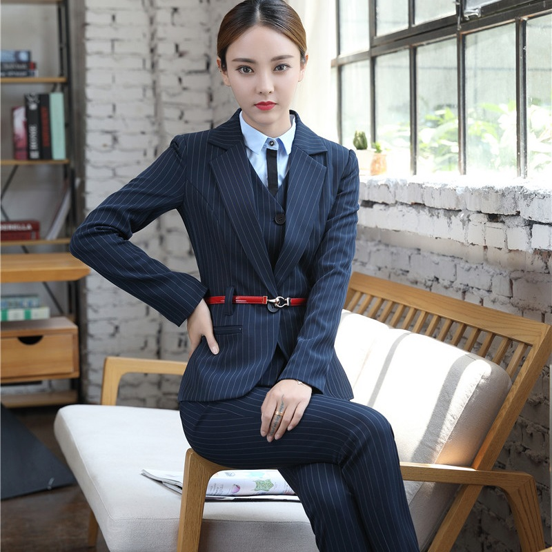 Fashion Business Office Blazer Women Work Suit Set Blue Jacket Vest Blazer Trousers Pantsuit For Women Autumn Winter 2017 Suits & Sets Back To Search Resultswomen's Clothing