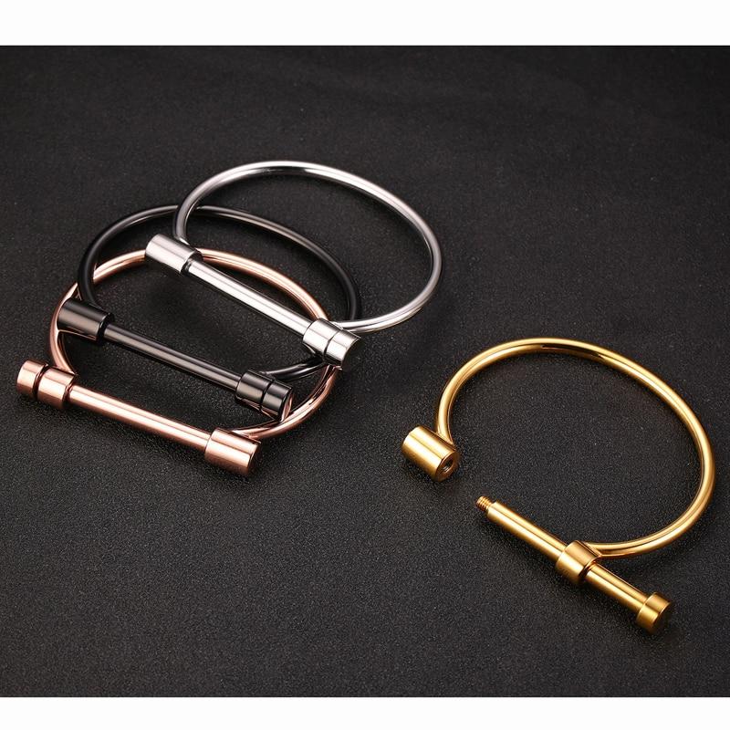 No fade 316L Stainless Steel Titanium Bracelets&Bangles Women Cuff Bracelet Female Metal Screw Brand Design Ladies Wrist Jewery