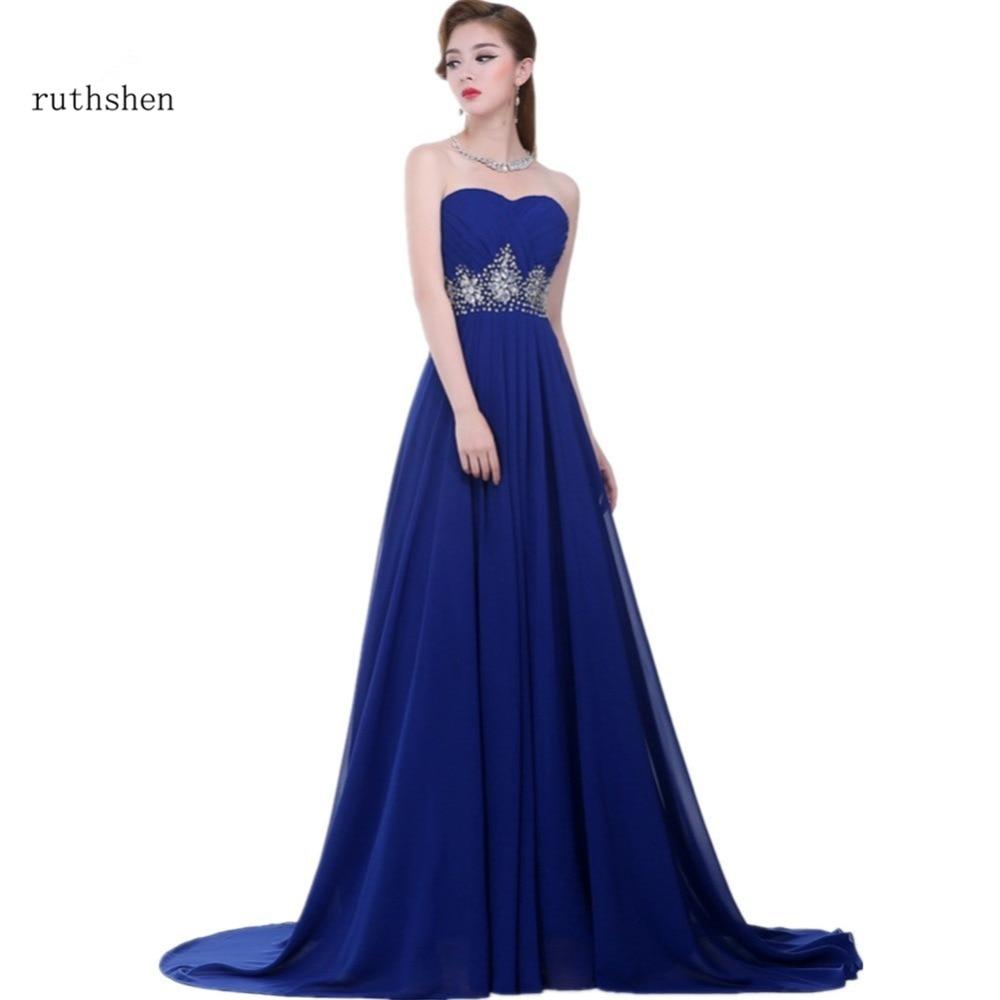 da82d22cd03 ruthshen Roayl Blue Long Evening Gowns With Sequins Beaded Pleated Draped  Chiffon Long Prom Dress Vestidos De Gala Largos 2018