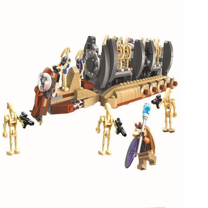 10374 BELA Star Wars 7 Battle Droid Troop Carrier Model Building Blocks Enlighten Figure Toys For Children Compatible Legoe 1402 enlighten star wars 8 in 1 aircraft carrier ship tank model building blocks diy figure toys for children compatible legoe