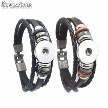 Hot Sale 034 Really Genuine Leather Retro Fashion Bangle Fit 12mm 18mm Snap Button Bracelet Charm Jewelry For Women Gift 19cm